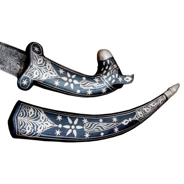Dagger - Luxurious Koftgari Work Fitting On Bone Handle Indo Persian Knight Vintage Sword Dagger Knife Scabbard - 12 Inches