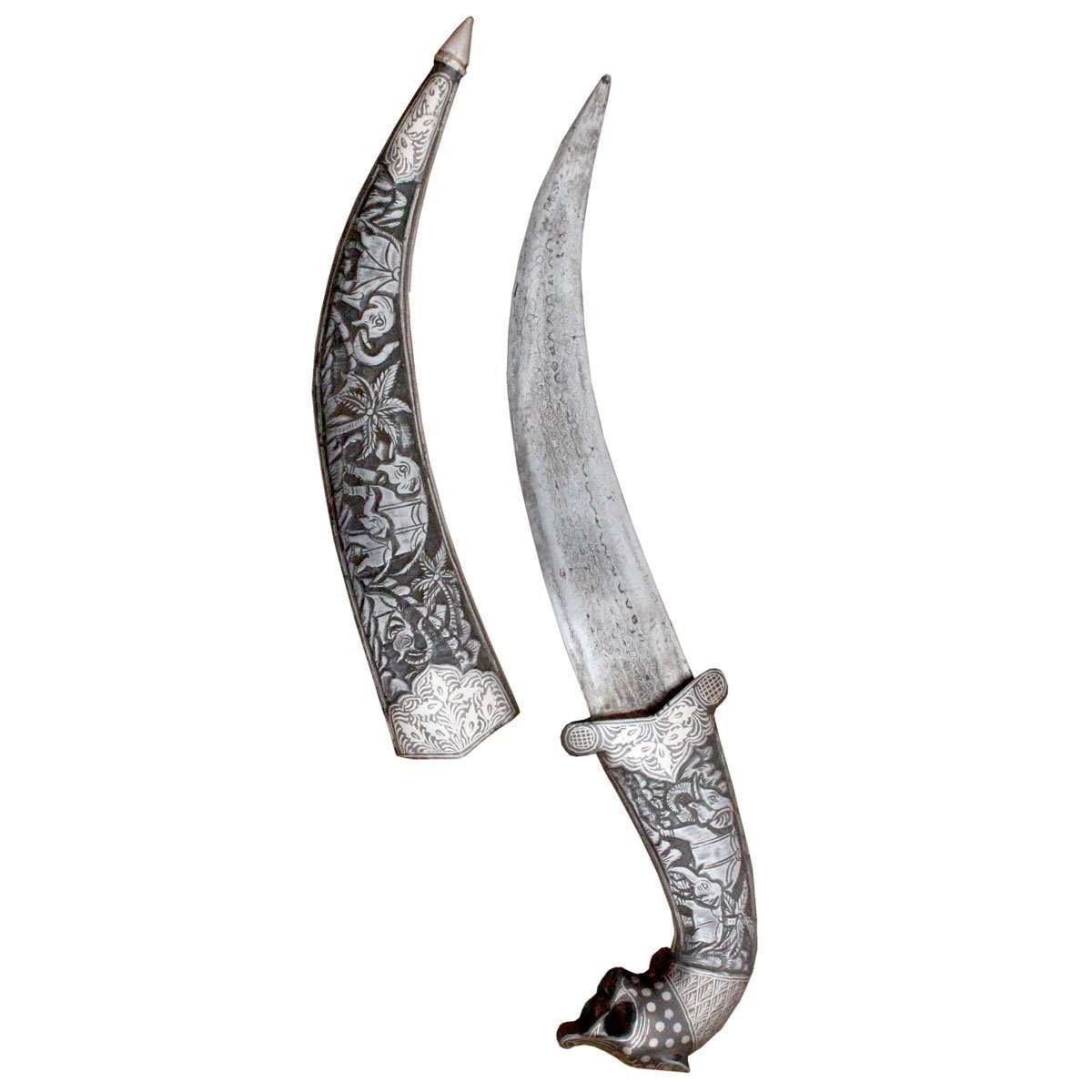 Dagger - Original Silver Inlay Art Work Mughal Dagger Bone Hand Fittings Shikar Hunting Knife - 15 Inches