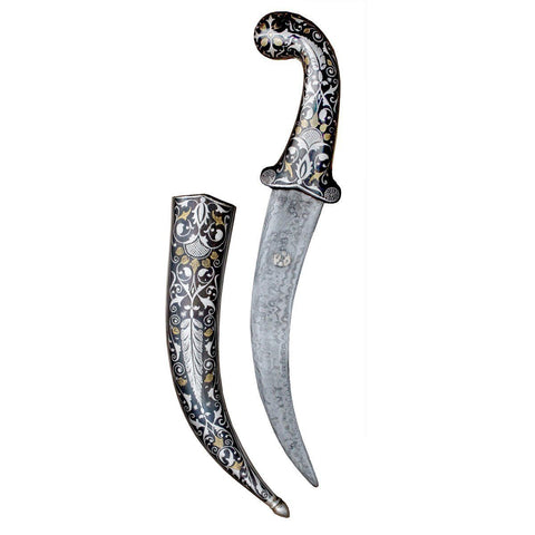 Dagger - Royal Ancient Silver And Gold Blade Dagger Beautifully Engraved With Mughal Artwork Defense Weapons