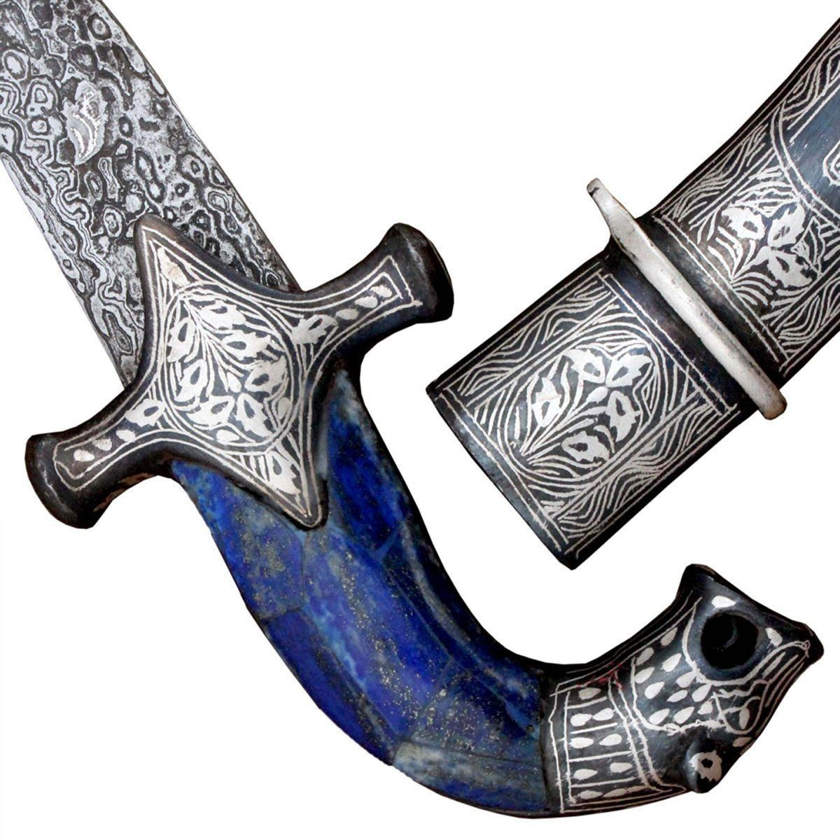 Dagger - Royal Persian Blue Knight Sword Handmade Steel Blade Assorted Original Silver Inlay Art Work Ancient Medieval Times - 12 Inches