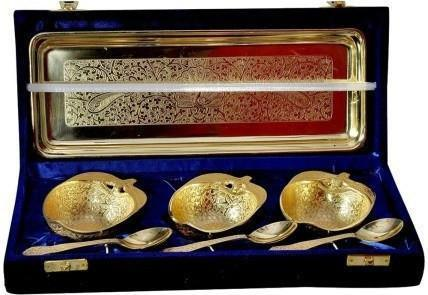 Gold Plated - ININDIA Apple Designed Gold Plated Tray And Bowl Set