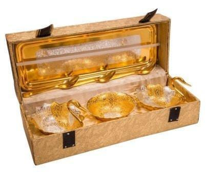 Gold Plated - ININDIA Pure Gold Plated Swan Shaped Spoon And Tray Set