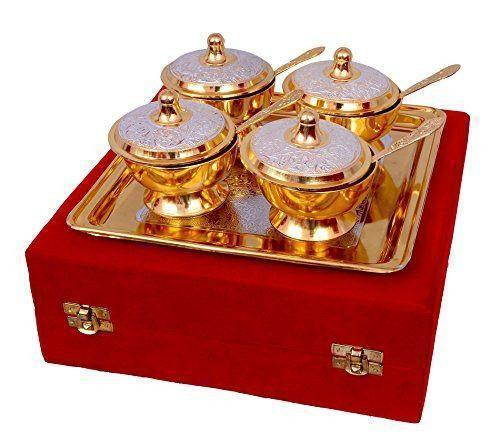 Gold Plated - ININDIA Unique Gold Plated Mouth Freshener Bowl Set
