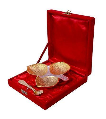IN-INDIA Gold Plated Brass Three Khand Platter With Spoon 6''x6''