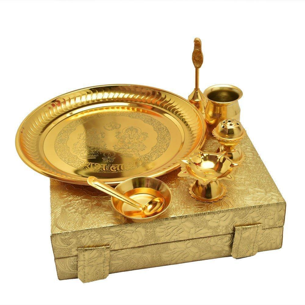 IN-INDIA Handmade Decorative Gold Plated Pooja Thali Aarti Thali Set Of 7
