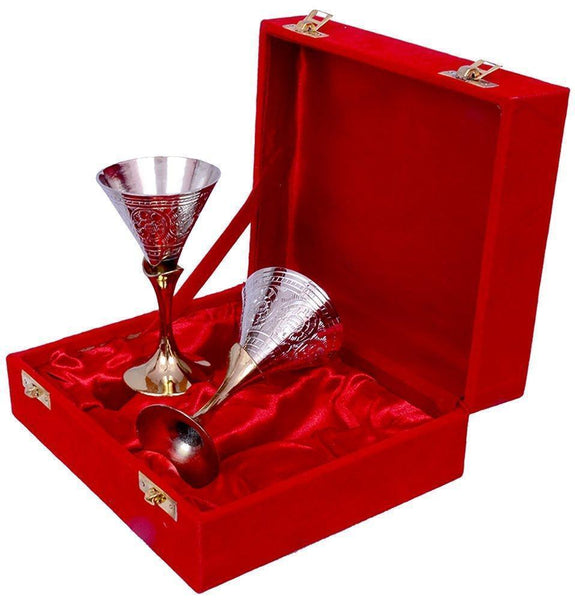 IN-INDIA Silver Gold Plated Small Wine Glass Set