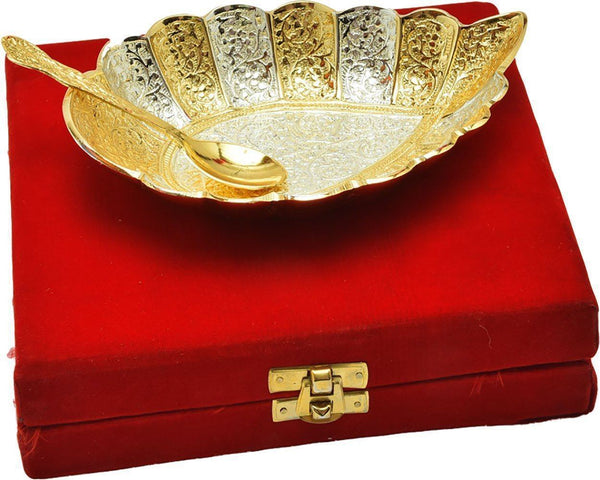 IN-INDIA Wow Special Gifts Silver Gold Plated Bowl In Unique Shaped
