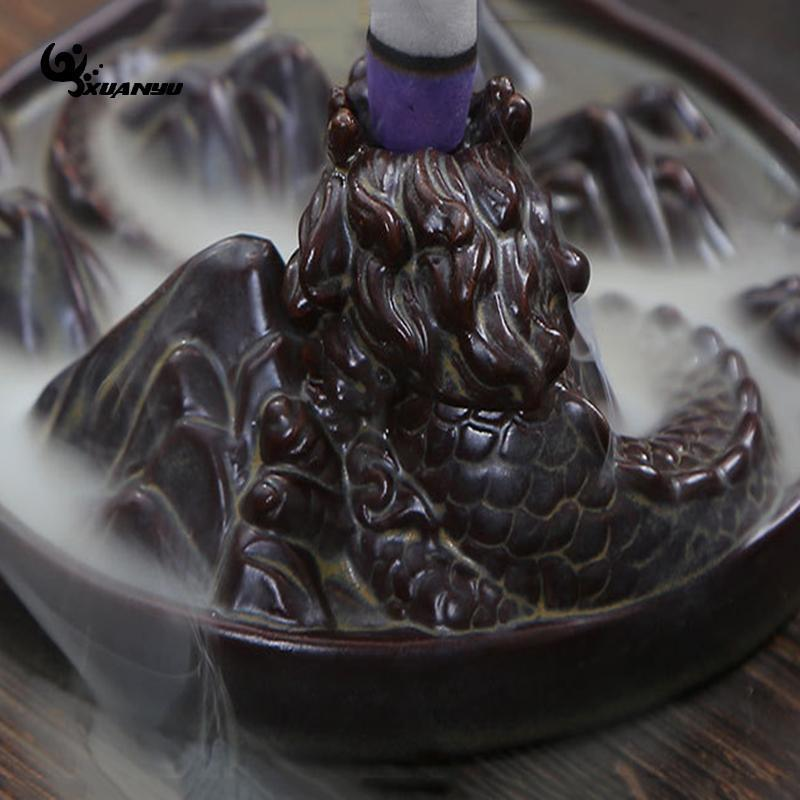 Incense Burner - Dragon Styled Waterfall Pound Smoke Backflow Cone Incense Holder Decorative Showpiece
