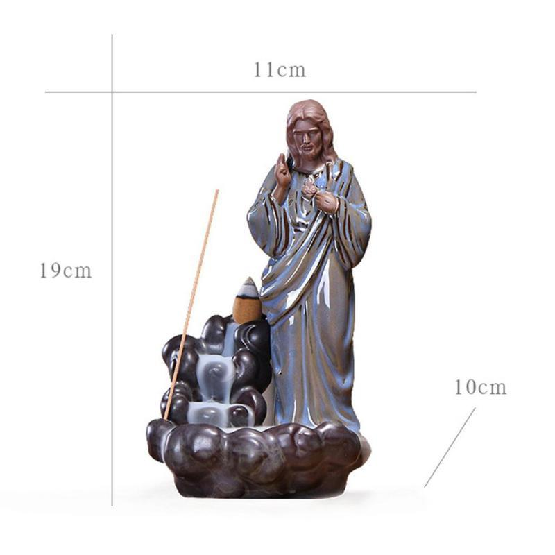 Incense Burner - Lord Jesus Reverse Smoke Back-flow Cone Incense Holder Showpiece