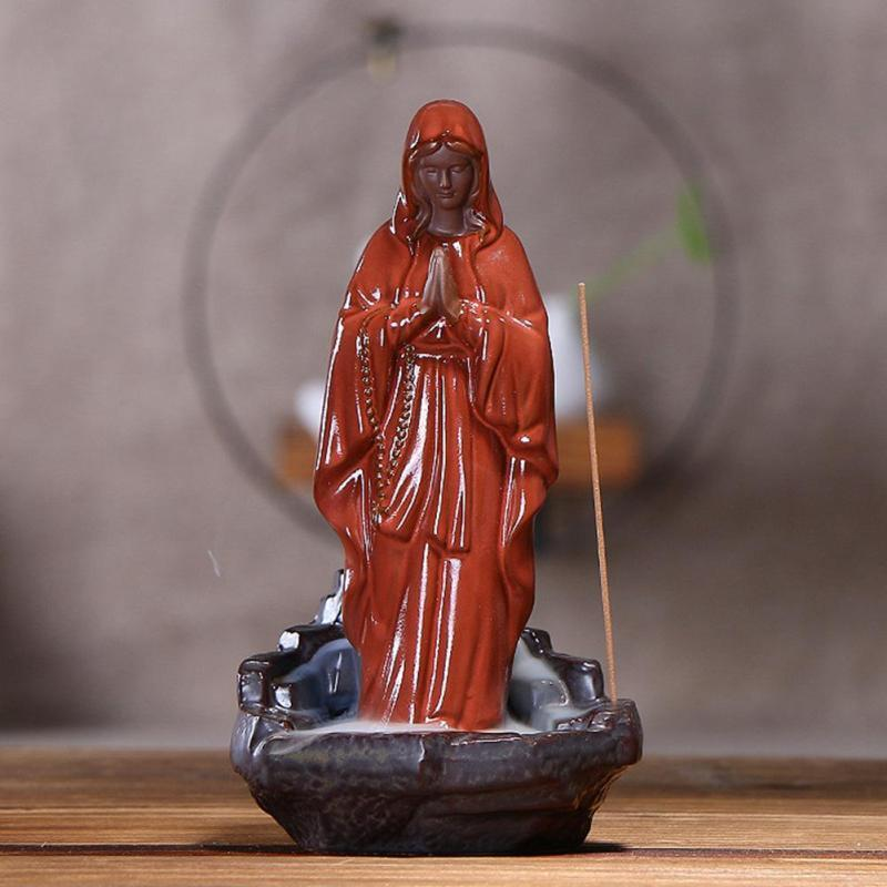 Incense Burner - Mother MARY Reverse Smoke Back-flow Cone Incense Holder Showpiece
