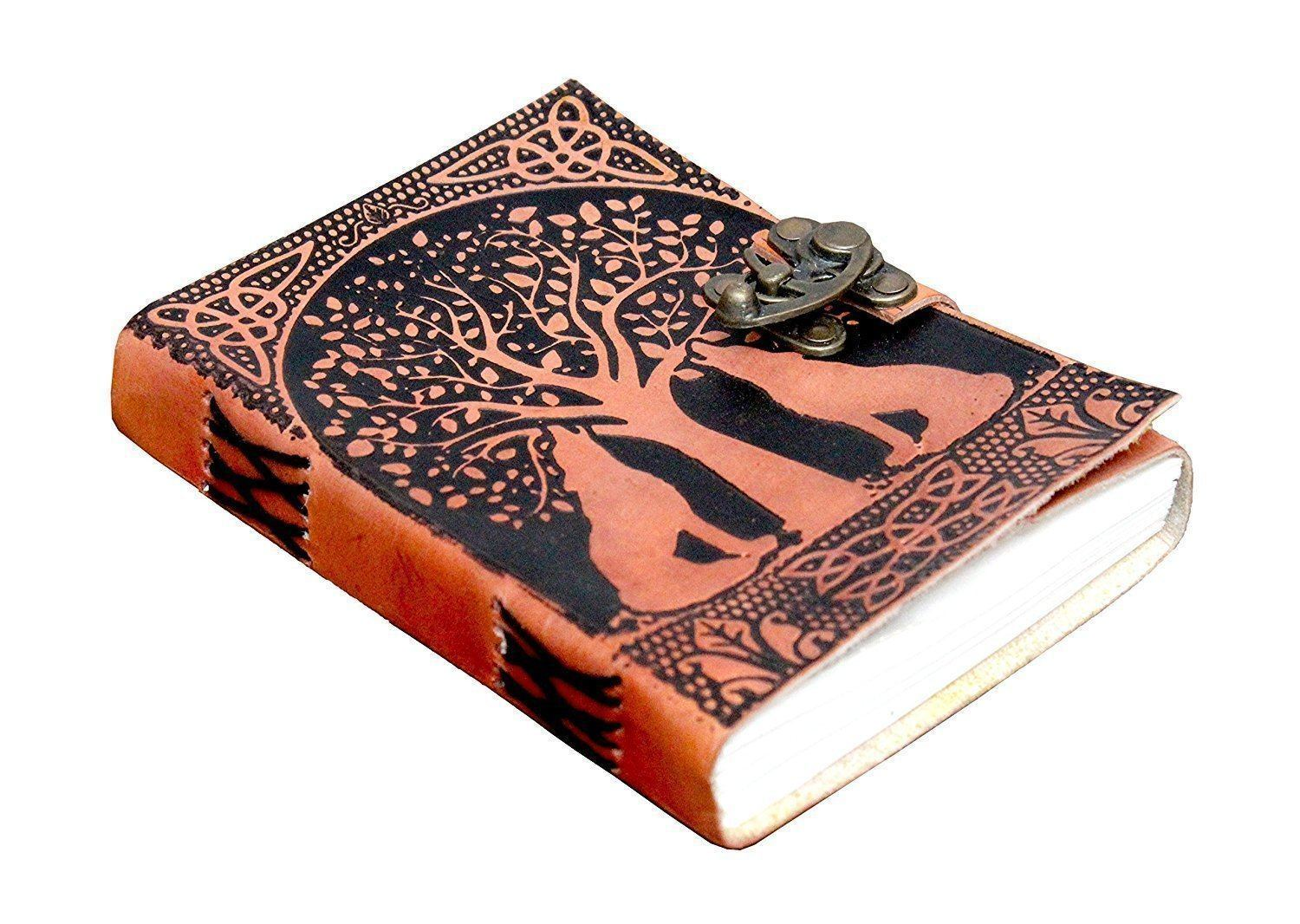 ININDIA Pure Genuine Real Vintage Hunter Leather Handmade Paper Notebook Diary For Office Home To Write Poem Daily Update With Attractive Metal Lock And Engraved Tree And Dog 7 Inches(All Colors)