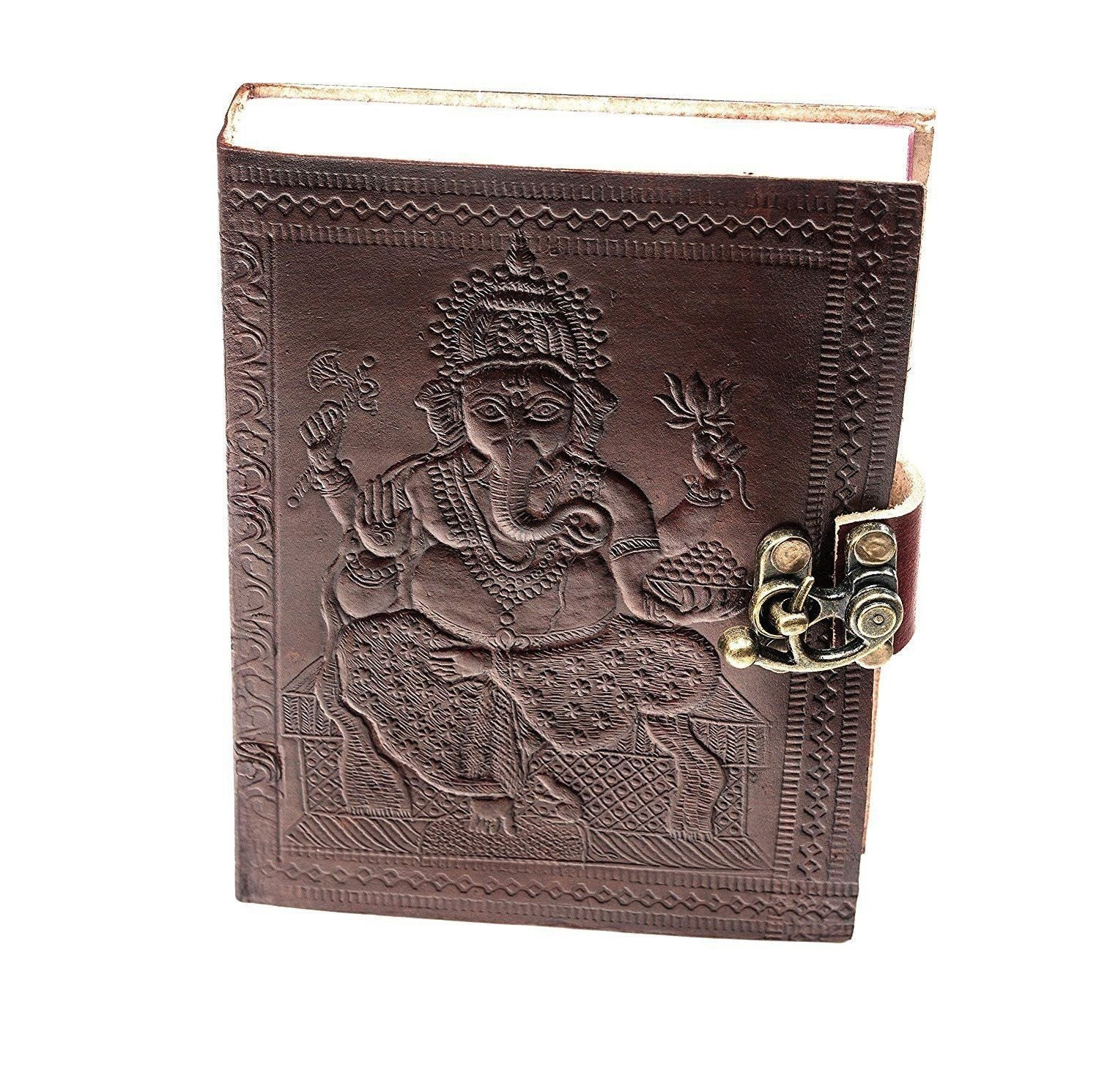 ININDIA Pure Genuine Real Vintage Leather Handmadepaper Notebook Diary For office Home to Write Poem Daily Update - Brown Size of 10 Inches The Immart