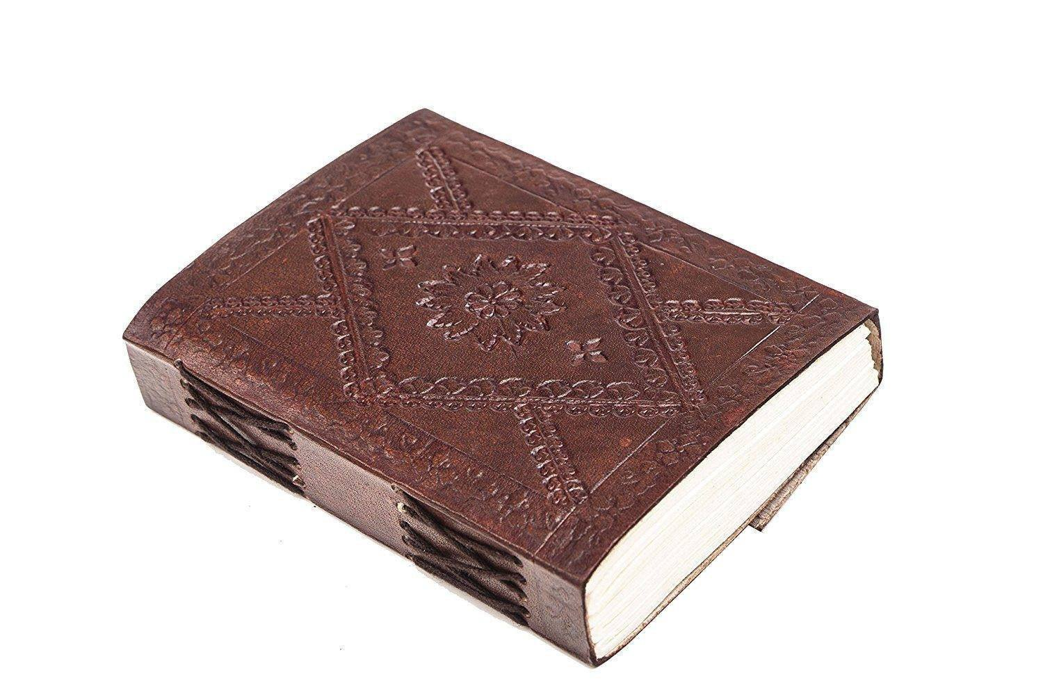 ININDIA Pure Genuine Real Vintage Leather Handmadepaper Notebook Diary For Office Home To Write Poem Daily Update - Brown Size Of 6*4