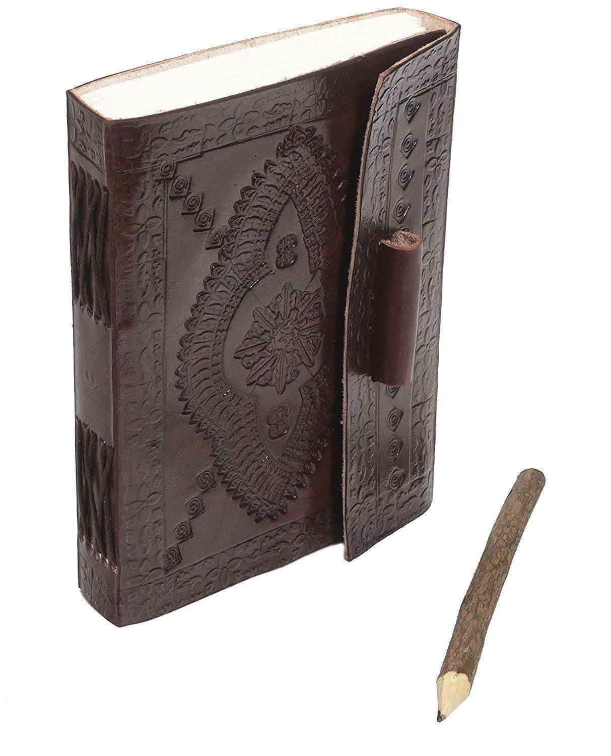 ININDIA Pure Genuine Real Vintage Leather Handmadepaper Notebook Diary For Office Home To Write Poem Daily Update - Brown Size Of 7*5
