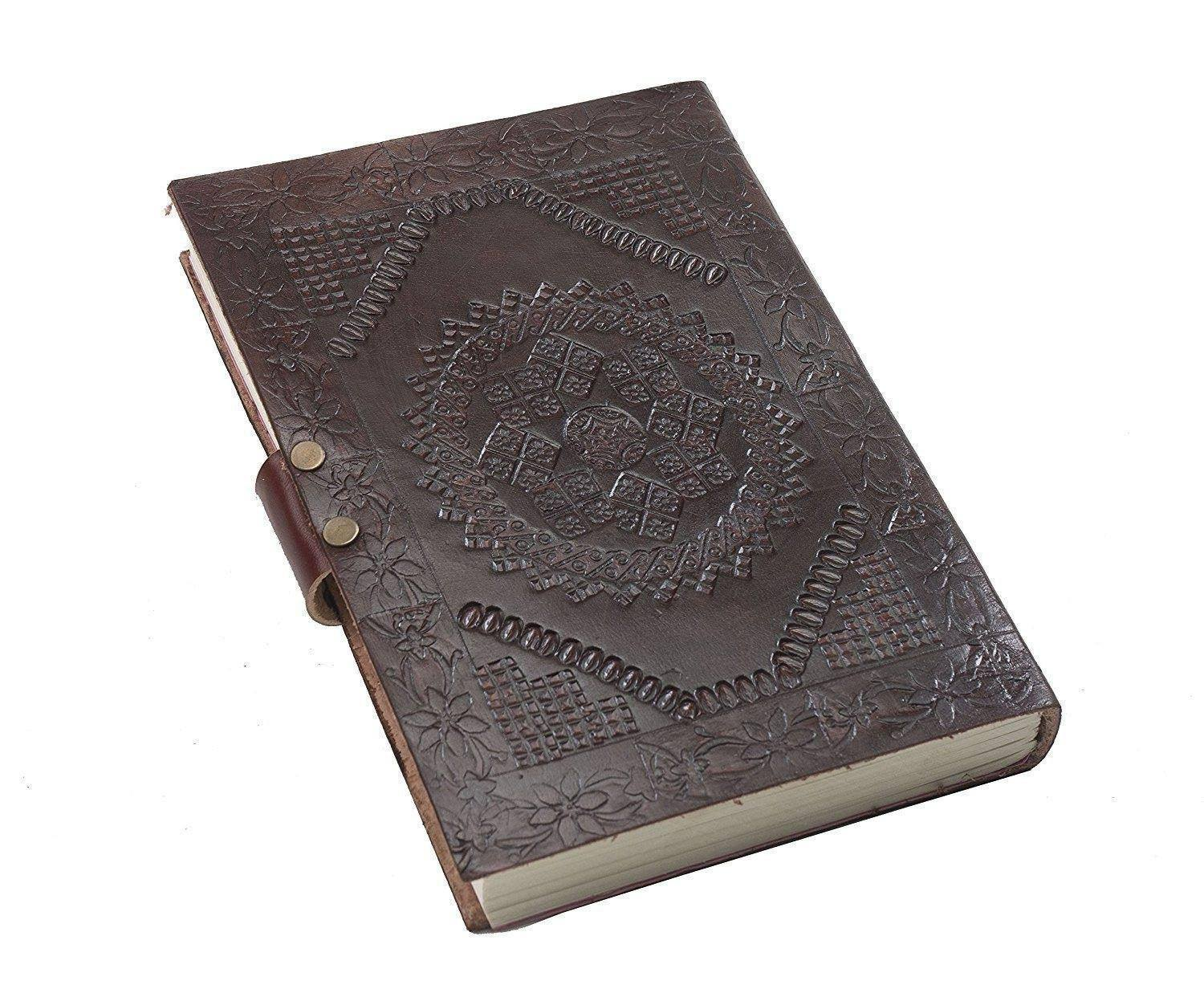 ININDIA Pure Genuine Real Vintage Leather Handmadepaper Notebook Diary For Office Home To Write Poem Daily Update Brown Size Of 7*5