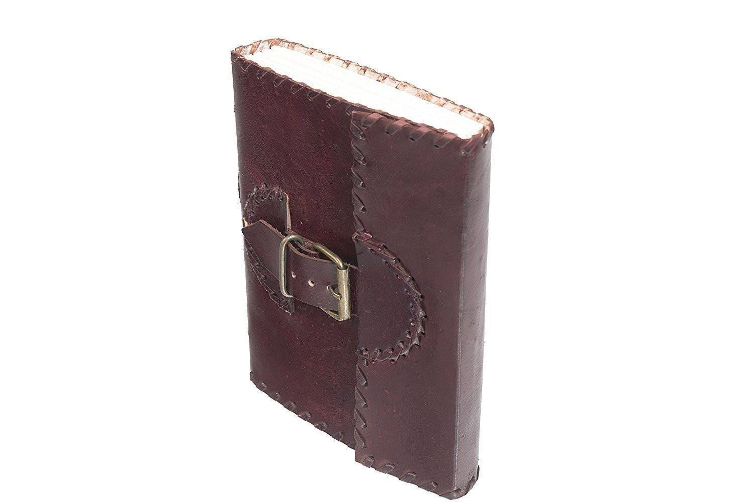 ININDIA Pure Genuine Real Vintage Leather Handmadepaper Notebook Diary For Office Home To Write Poem Daily Update - Brown Size Of 8*6