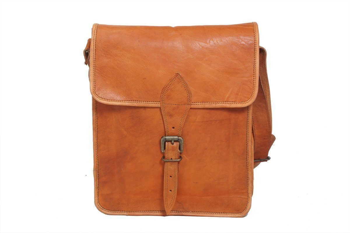 Leather - In India Genuine  Vintage Brown Leather Satchel Laptop And Messenger Bag - Fits Laptop Upto 13.3 Iches