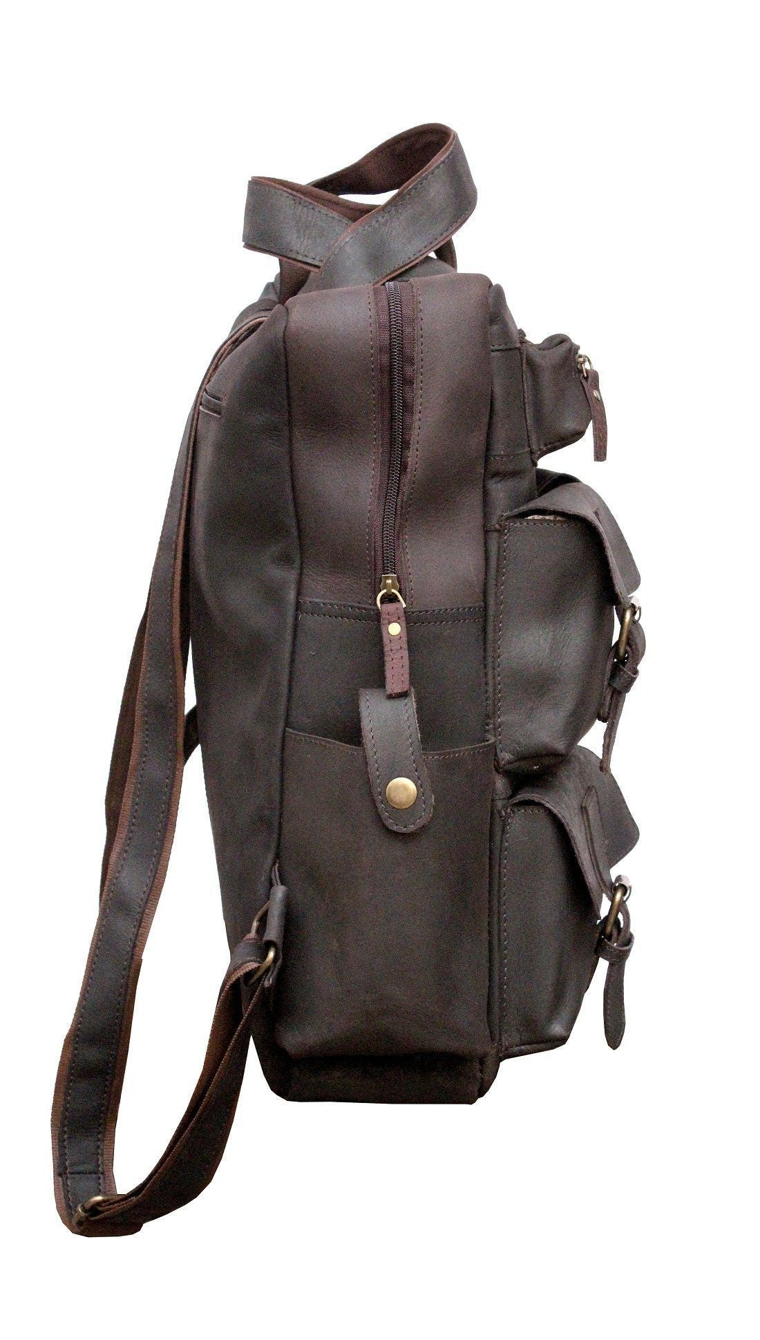 Leather - IN-INDIA Hot Selling 4 Pocket Buffalo Leather Large Vintage Rustic Look Messenger Bagpack - Fits Laptop Upto 15.6 Inches