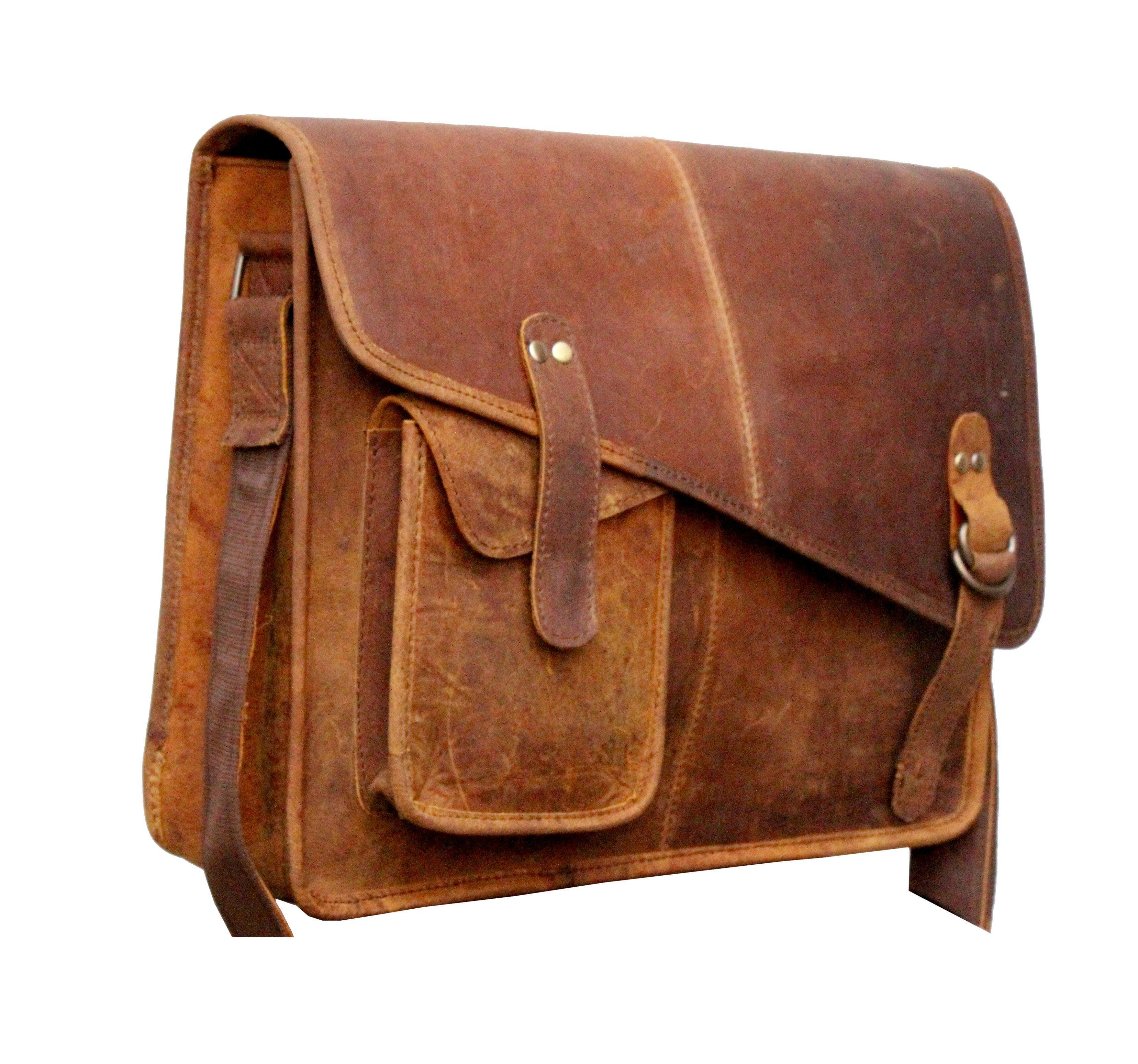 Leather - IN-INDIA Modern Trend Magnetic 15 Inches Buffalo Hunter Leather Messenger Professional Bag - Fits Laptop Upto 15.6 Inches