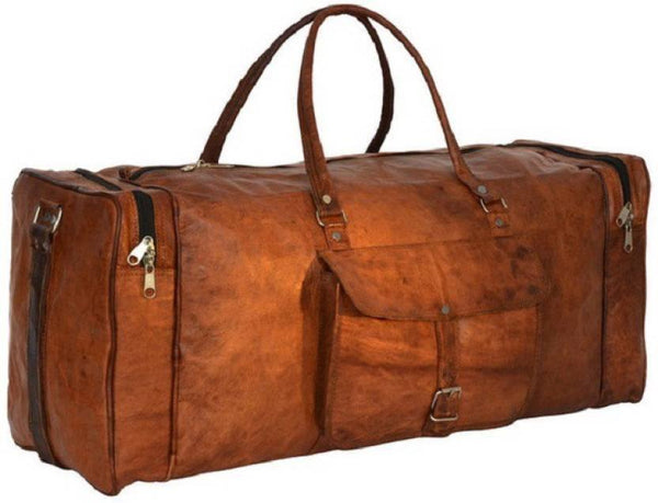 Leather - IN-INDIA Pure Leather Modern Square 22 Inches Ultra Light Duffel Bag - High Quality Leather