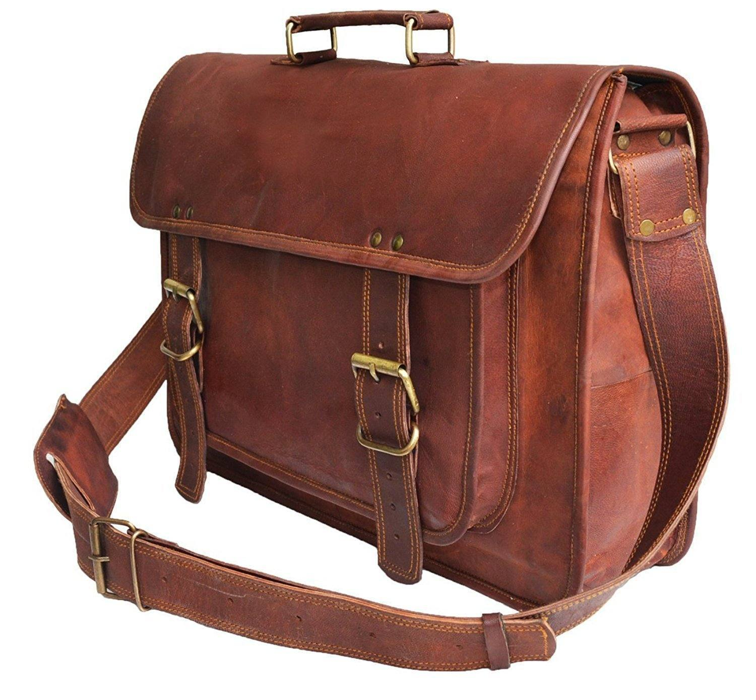 Leather - IN INDIA Rustic Big Pocket Pure Leather Office Satchel Bag - Fits Laptop Upto 15.6Inches