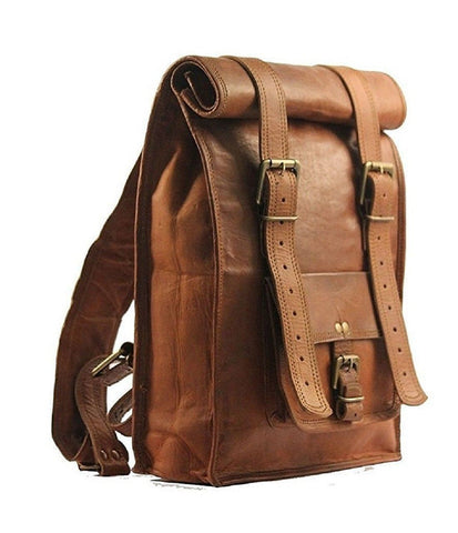Leather - IN-INDIA Unisex Real Leather Office/College Mini Backpack For Books,iPad- Fits Laptop - Fordable Upto 22 Inches