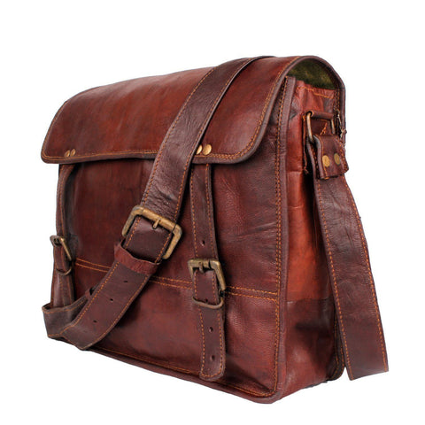 Leather - IN INIDA Menly Look Hard Bound Bravery Symbol Pure Leather Messenger Bag - Fits Laptop Upto 13.3 Inches