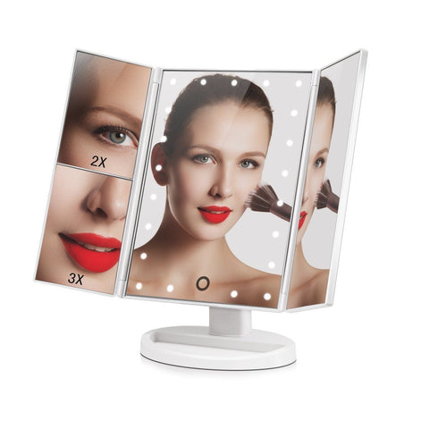 Makeup - 20 Led 360 Rotation Touch Panel Large Make Up Mirror With 2X And 3X Magnifier - Random Colour