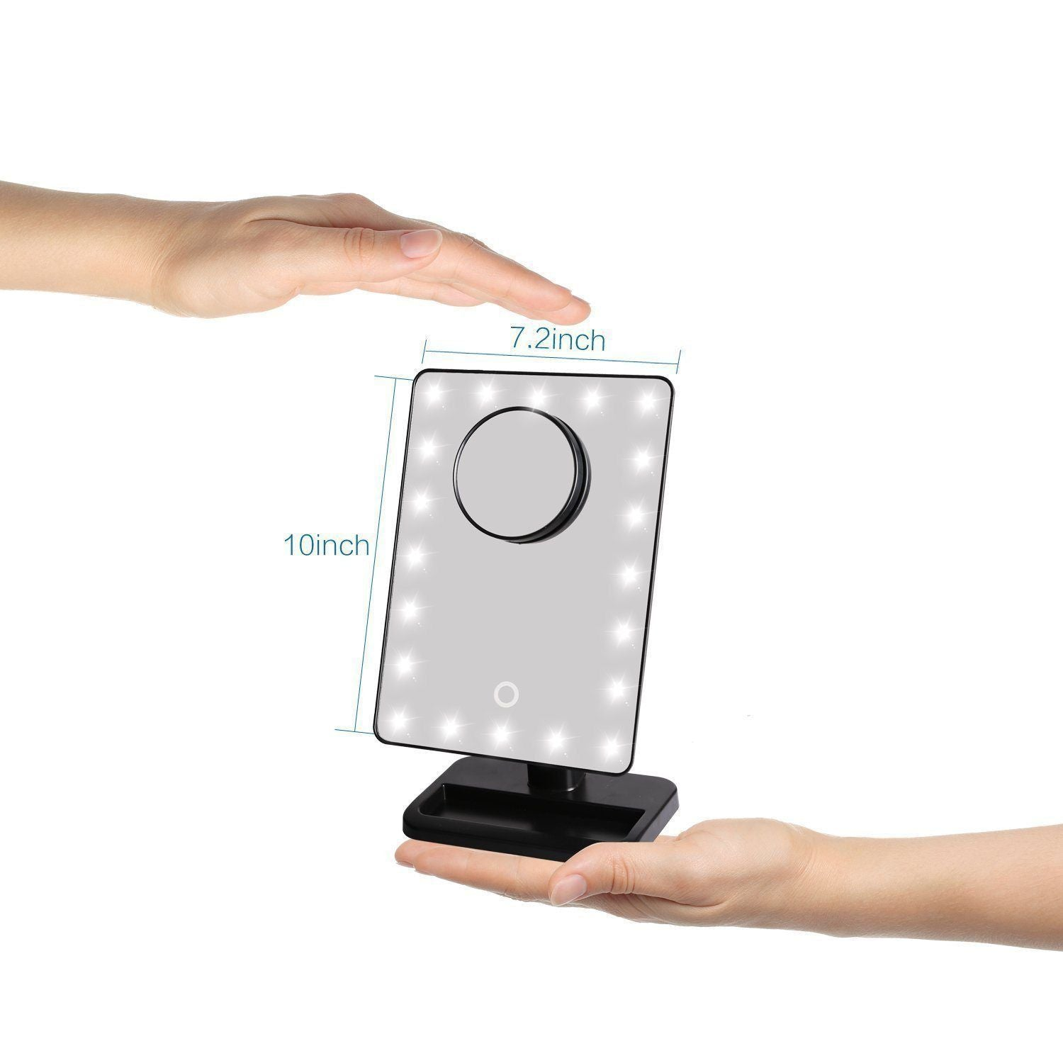 Makeup - 20 Led Dimmable 360 Rotation Touch Panel Make Up Mirror With Removable Magnified Mirror