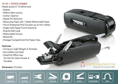 Office Tool - 10-In-1 Office Combo Desktop Accessory / Travel Kit - Stapler Scissors