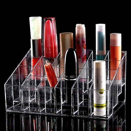 Organiser - Lipstick Holder 24 Spaces Clear Acrylic Lipstick Organizer Display Stand Cosmetic Makeup Organizer For Lipstick