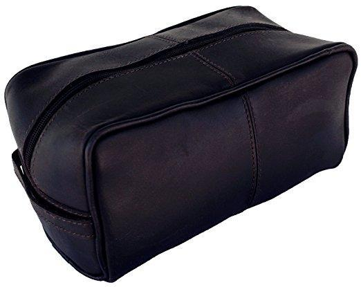 Organiser - Unisex 2-Zippered Pure Leather Toiletry Bag Travel Dopp Kit, Leather Wash Bag, Buffalo Leather Shaving Kit Bag Organiser (Dark Brown)