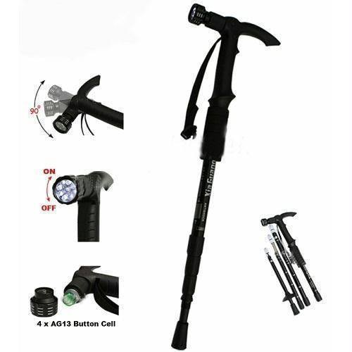 Other Accessories - Tuzech Adjustable Anti Shock Trekking Hiking Walking Stick Pole(With LED)