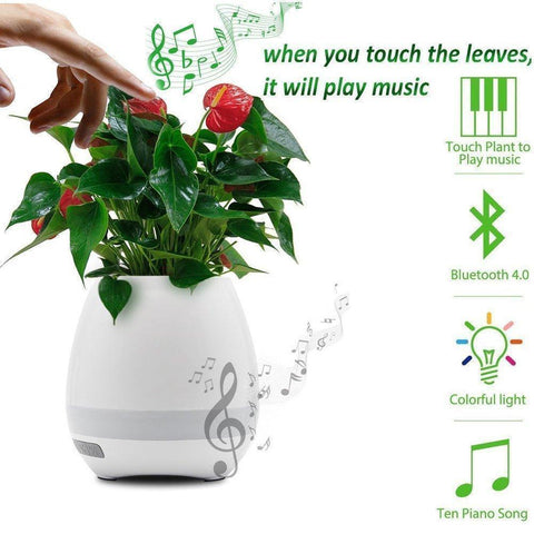 Other Bluetooth Devices - Music Flowerpot Touch Music Lamp With Rechargeable Wireless Bluetooth Speaker And LED Night Light (without Plant)