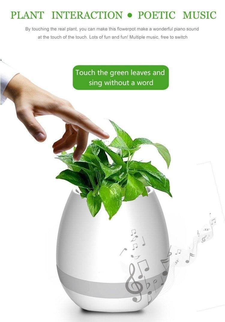 Music Flowerpot Touch Music Lamp with Rechargeable Wireless Bluetooth  Speaker and LED Night Light (without Plant)