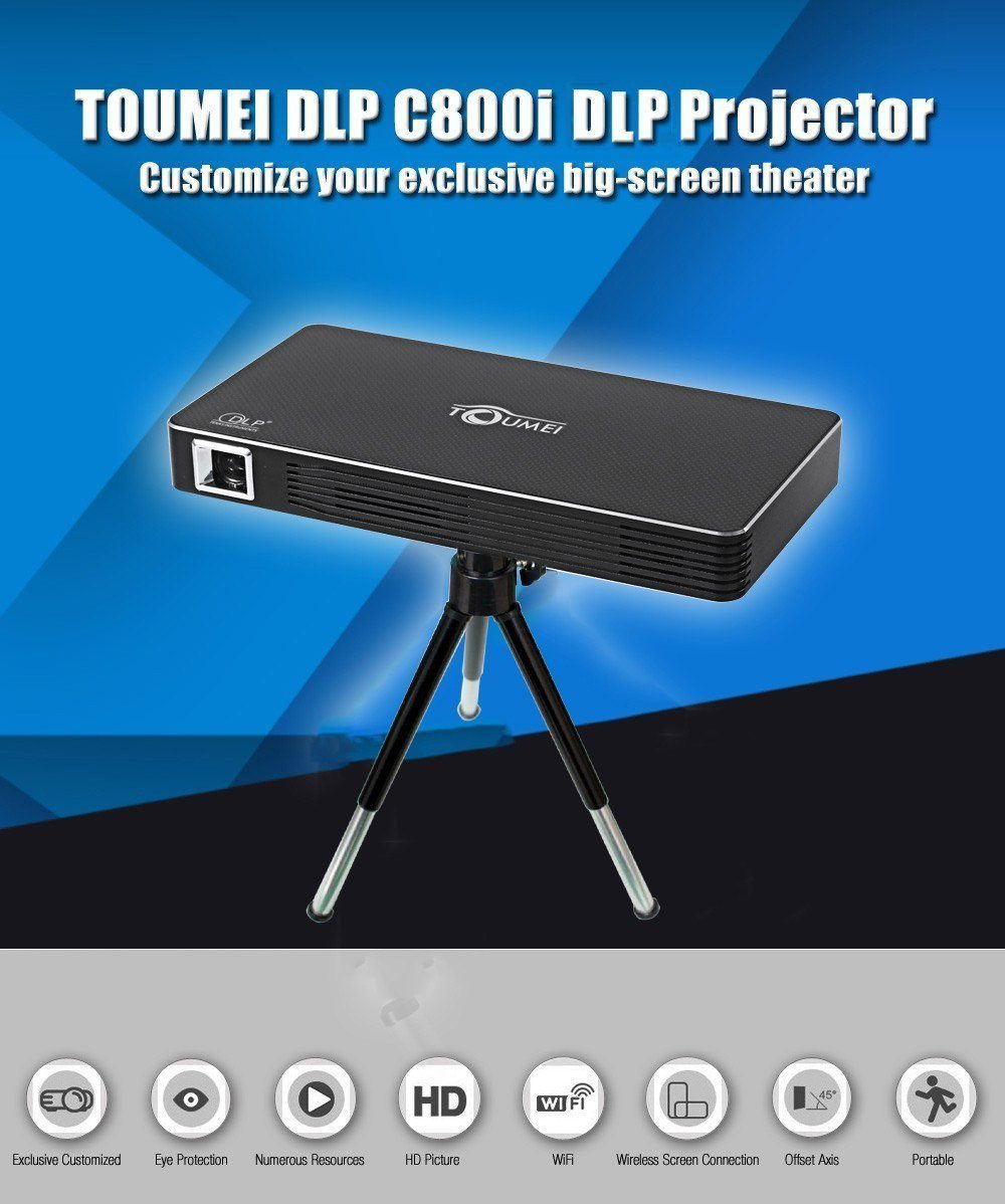 Projector - TOUMEI Multipurpose Multi Connectivity DLP Home / Office Portable Projector - C800i