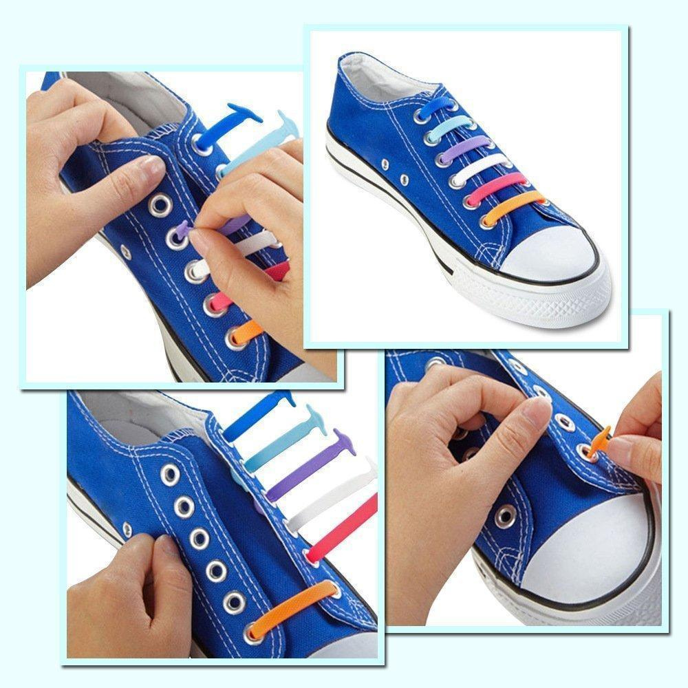 Shoe Lace - 16PCS/Set Unisex  No Tie Click On Silicone Shoe Lace (Fit All Sneakers And Shoe ) (Random Colour)