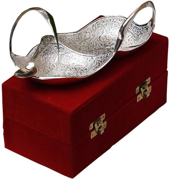 Silver Plated - IN INDEA Best Quality Silver Plated Twin Swan Shaped Bowl With Spoon