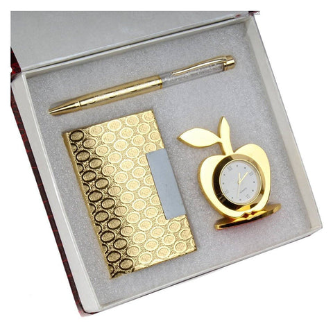 Silver Plated - In Indea Gold Plated(24K) Pen And Keychain With Card Holder In Gold Plated