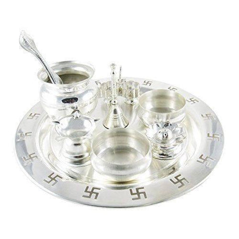 Silver Plated - In Indea Silver Plated 9 Inch Silver Plated Swastik Pooja Thali Set