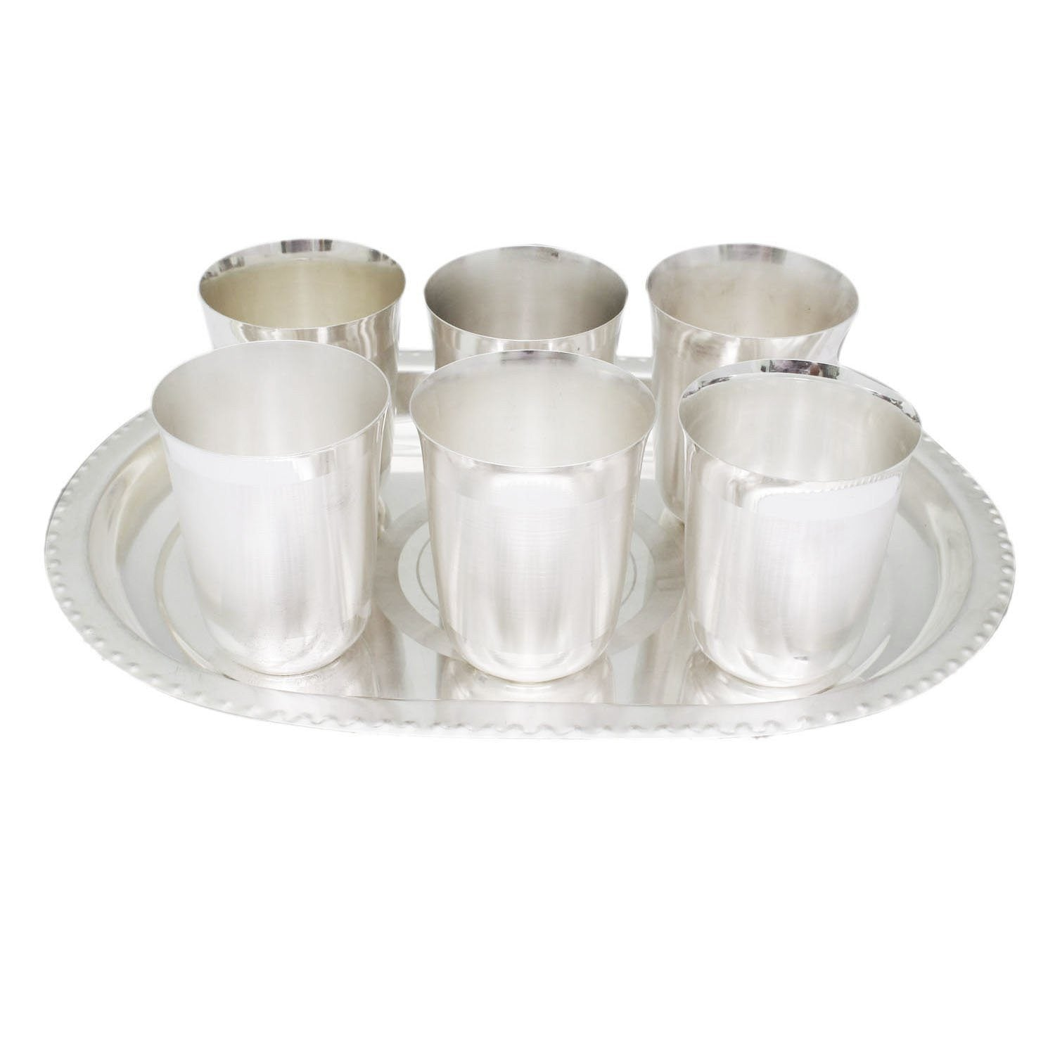 Silver Plated - In Indea Silver Plated Artistic Flower Glass Set With Oval Tray 7 Pcs