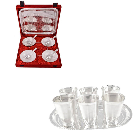 Silver Plated - IN INDEA Silver Plated Bowl Set Glass Set Pooja Plate And 6 Cup Plate And Manchurian Bowl Set With Spoons