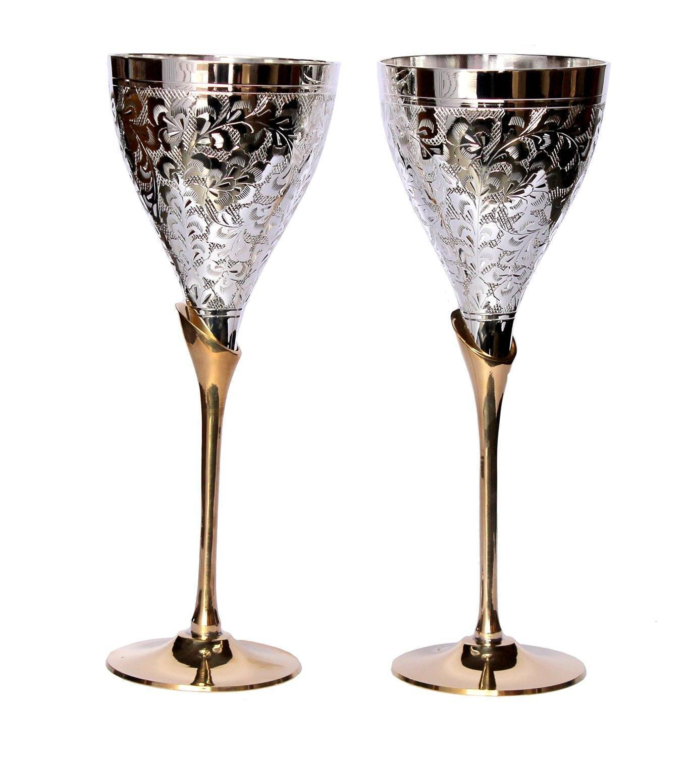 Silver Plated - IN INDEA Silver Plated Engraved Pure Brass Premium Goblet Champagne Flutes Coupes Wine Glass Set Of 2