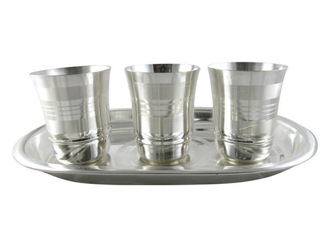 Silver Plated - IN INDEA Silver Plated Glass Set With Tray ( 3 Glasses)