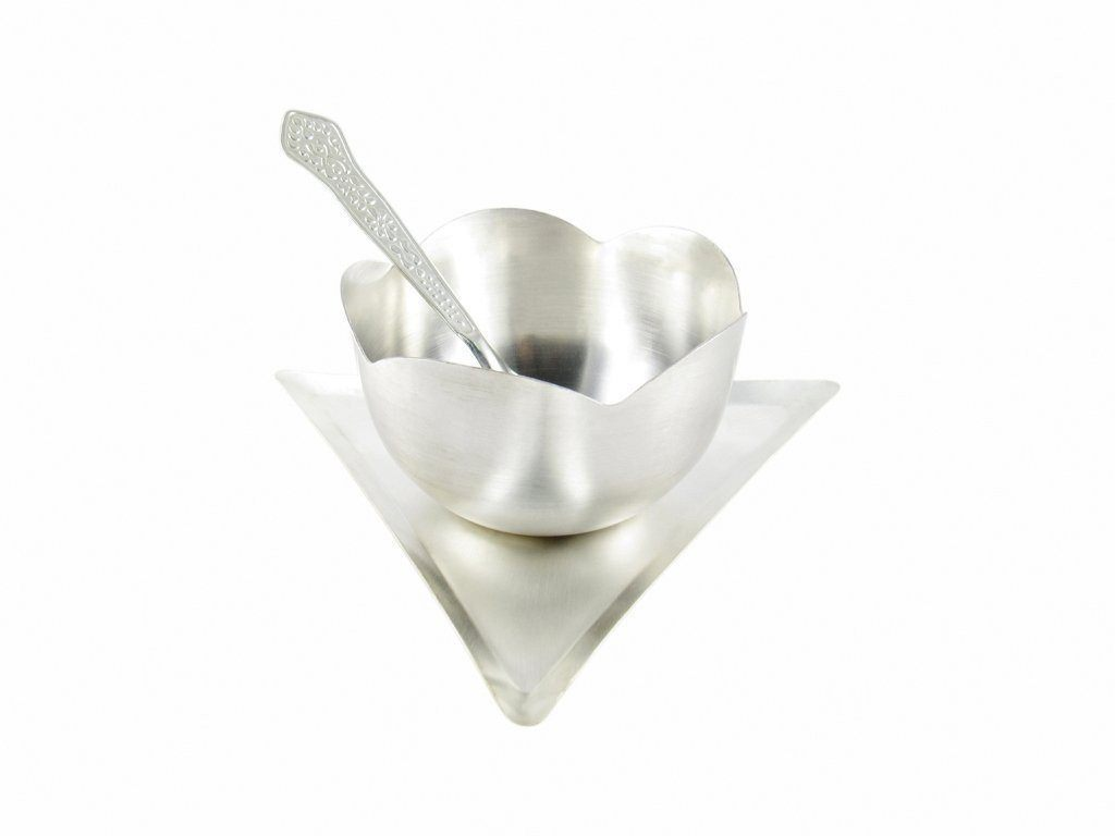 Silver Plated - IN INDEA Silver Plated Ice Cream Bowl Set With Tray