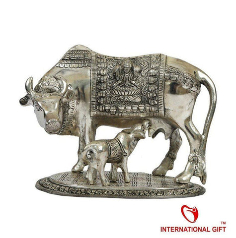 Silver Plated - In Indea Silver Plated Kamdhenu Cow Oxidized Silver Finish ( ULTRA LARGE)
