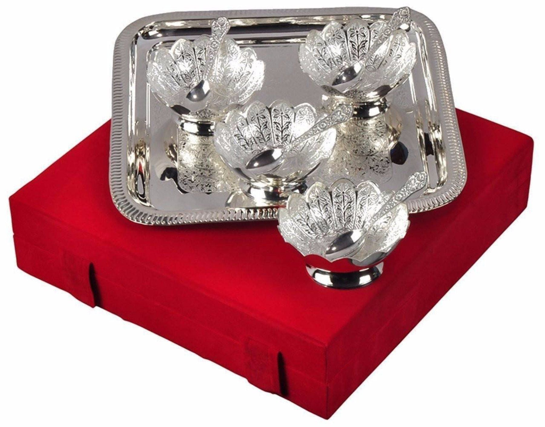 Silver Plated - In Indea Silver Plated Serving Set With 1 Tray, 4 Bowls And 4 Spoon With Velvet Box