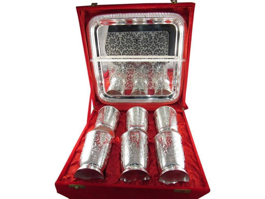 Silver Plated - IN INDEA Traditional High Designed Silver Plated 6 In 1 Glass Set With Tray