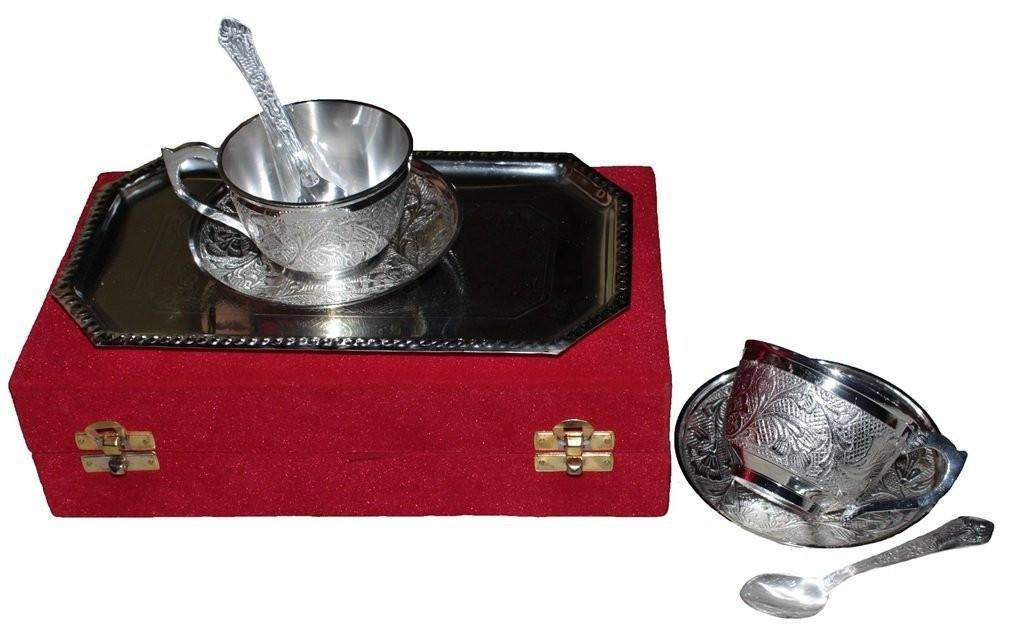 Silver Plated - IN INDEA Traditional High Designed Silver Plated Cup Set  With Spoon And Tray