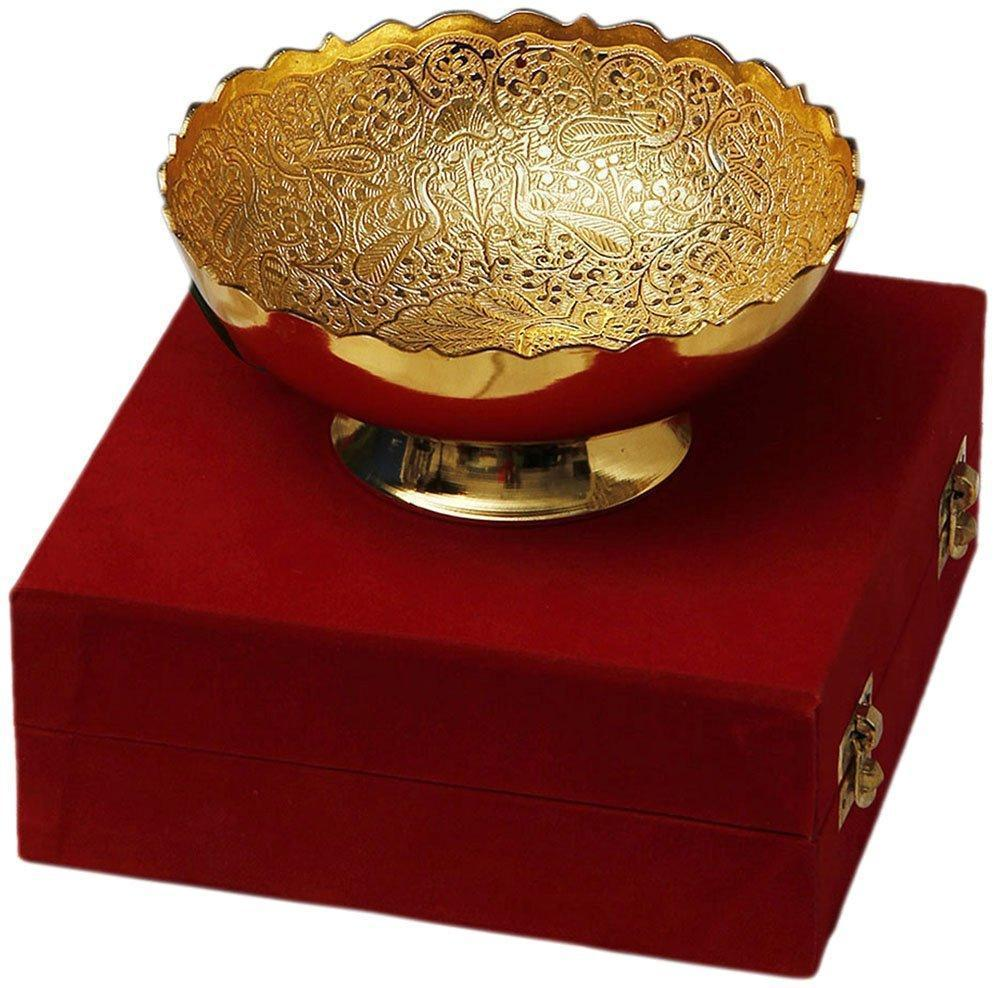 Silver Plated - IN-INDIA Gold Plated Brass Bowl Middle Peacock Carving